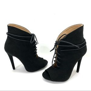 JustFab Suede Lace-up heeled booties - size 6